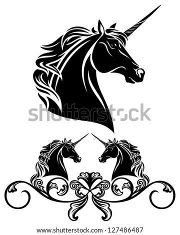 fine unicorn head decorative element - black and white vector illustration - stock vector