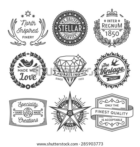 Finest Quality Vintage Graphics, Badges and Insignias Collection with Font Names Specified in Layers - stock vector