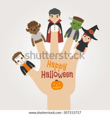 Finger monsters halloween , happy halloween , eps10 vector format - stock vector