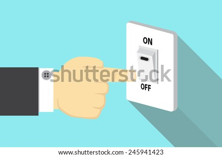 Finger pressing off switch  - stock vector
