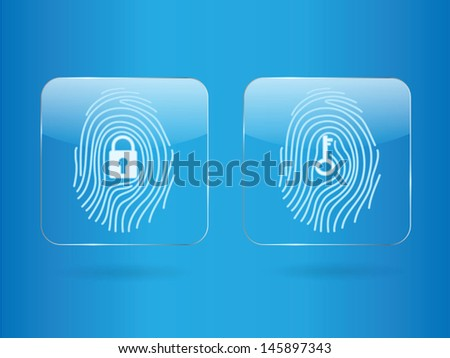 Finger print glass button - stock vector