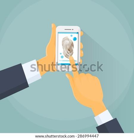 Finger Print Smart Phone Access Lock, Business Man Touch Screen Fingerprint Hands Scan Security Flat Vector Illustration - stock vector