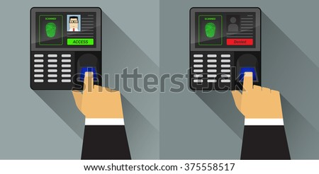 Finger  scan on access control - stock vector