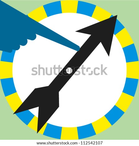 Finger spins the dial on a wheel of a board game - stock vector
