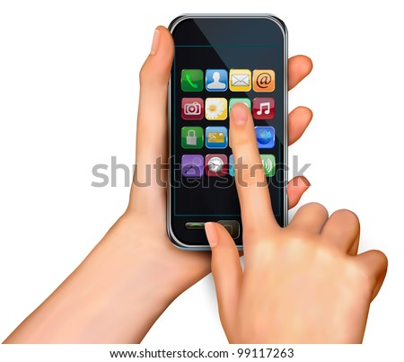 Finger touching smartphone screen with icons. Vector. - stock vector