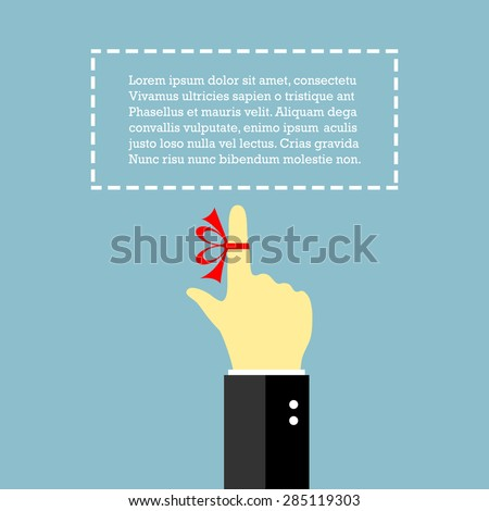 Finger with string, reminder poster - stock vector