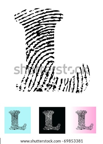 Fingerprint Alphabet Letter L (Highly detailed Letter - transparent so can be overlaid onto other graphics) - stock vector