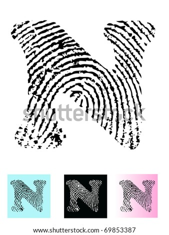 Fingerprint Alphabet Letter N (Highly detailed Letter - transparent so can be overlaid onto other graphics) - stock vector