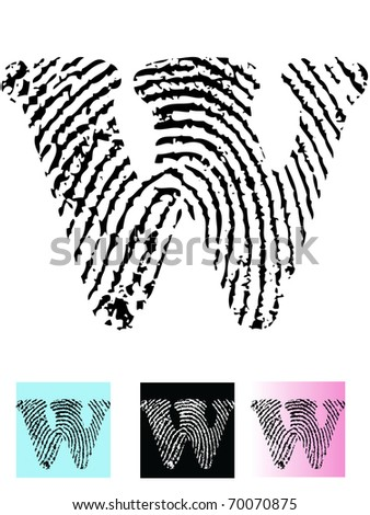 Fingerprint Alphabet Letter W (Highly detailed Letter - transparent so can be overlaid onto other graphics) - stock vector