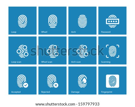 Fingerprint and thumbprint icons on blue background. Vector illustration. - stock vector