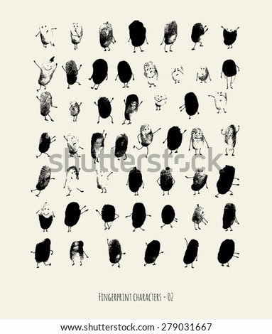 Fingerprint characters - 02 - stock vector