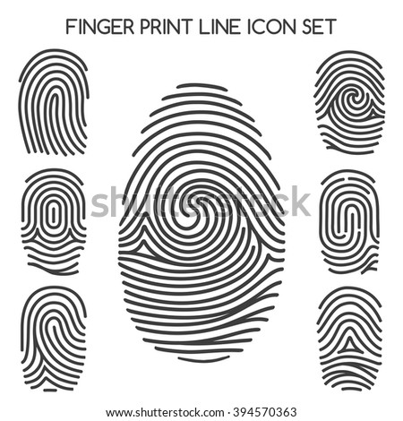 Fingerprint icons. Finger print line icons or thumbprint signs. Vector illustration - stock vector