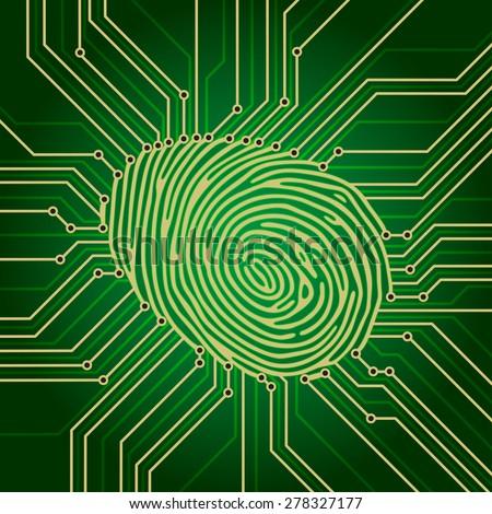 Fingerprint Identification System. Green Electronics finger print scheme - stock vector
