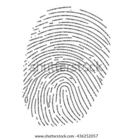 Fingerprint made with binary code, futuristic bionic concept - stock vector