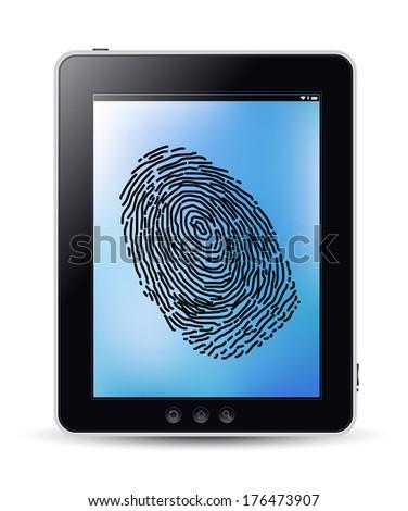 Fingerprint on the tablet - stock vector
