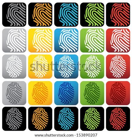 Fingerprint or thumbprint icon set - stock vector
