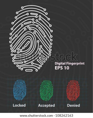 Fingerprint Reader (vector) - stock vector