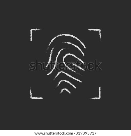 Fingerprint scanning hand drawn in chalk on a blackboard vector white icon isolated on a black background. - stock vector