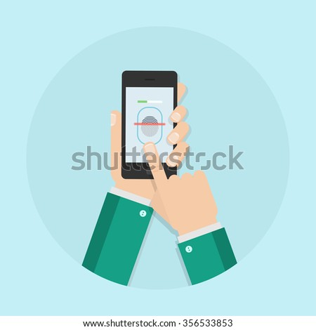 Fingerprint scanning vector illustration. Fingerprint scan in flat style. Fingerprint scanner. Fingerprint reading mobile phone. Biometric scanner. Fingerprint identification. - stock vector