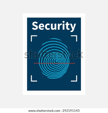 Fingerprint sign icon. Identification or authentication symbol. Template poster design in flat style. Vector - stock vector