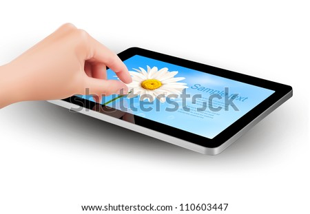 Fingers pinching to zoom tablet's screen. Vector. - stock vector