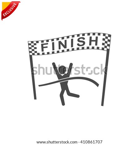 finish icon, vector finish line icon, isolated Winning Athlete crosses the finish line - stock vector
