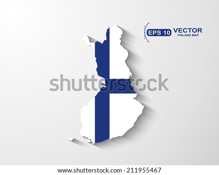 Finland map with shadow effect - stock vector