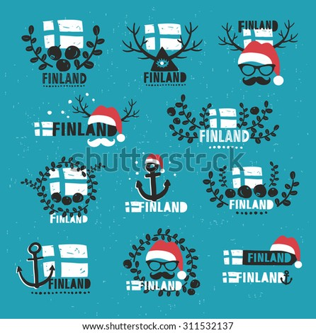 Finland. Set of vector labels. Vector illustrations. - stock vector