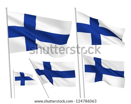 Finland vector flags. A set of 5 wavy 3D flags created using gradient meshes. - stock vector