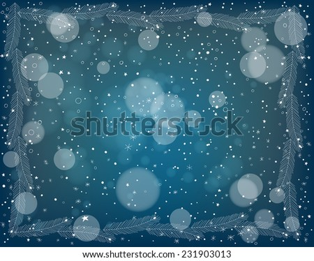 Fir frame. Frame made of white hand - drawn fir branches over dark blue winter background with falling snow. Christmas design. - stock vector