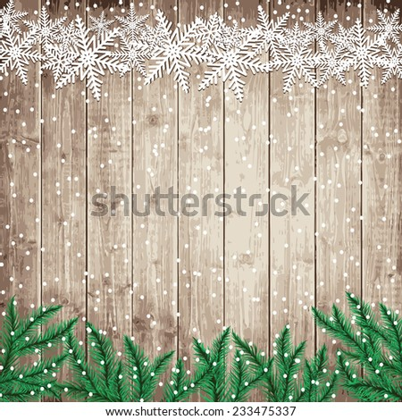 Fir tree branches and snowflakes on the wooden board. Christmas vector illustration. - stock vector