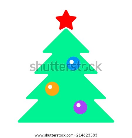 fir-tree with toys. isolated on white background. vector illustration - stock vector