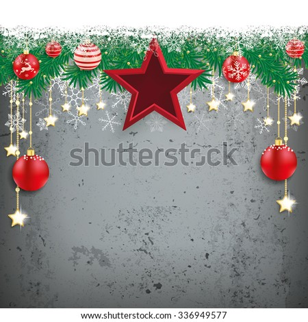 Fir twigs with snow and red stars and baubles on the concrete. Eps 10 vector file. - stock vector