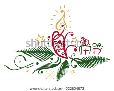 Fir with candle, abstract - stock vector