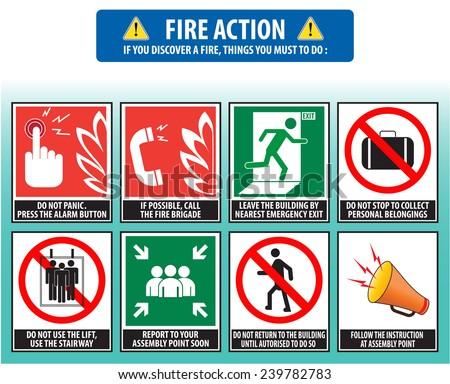 Fire action emergency procedure (evacuation procedure) - stock vector