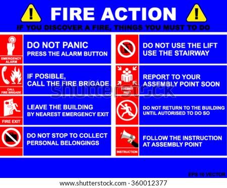 FIRE ACTION, Fire Action Emergency Procedure, VECTOR - stock vector