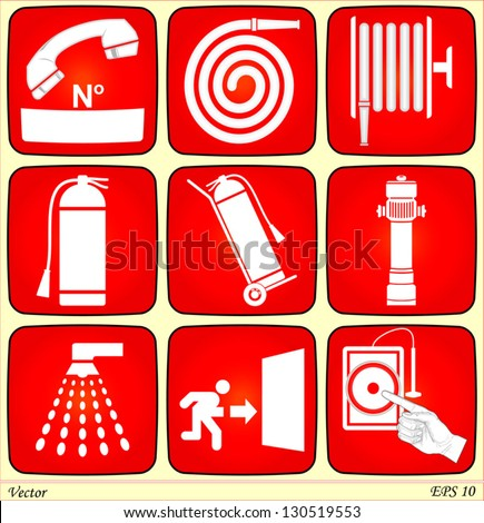 Fire Alarm Signs - stock vector