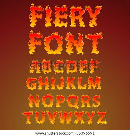 Fire alphabet - find more fonts in my portfolio - stock vector