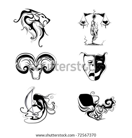 Fire and air horoscope signs - stock vector