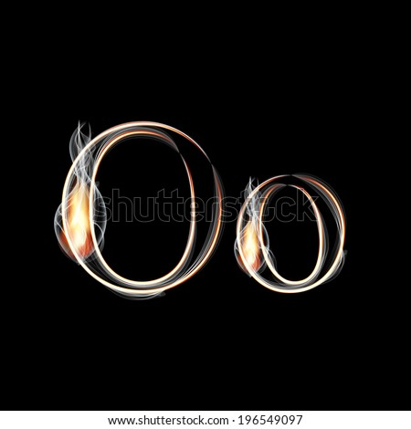 Fire and Smoke font. Letter O. Vector illustration. - stock vector