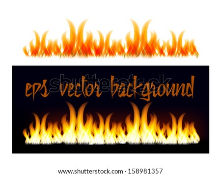Fire background on white and on black. Vector - stock vector