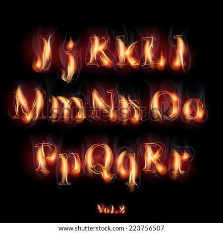 Fire Burning Latin Alphabet Letters. Set Vol.2 J-R - stock vector