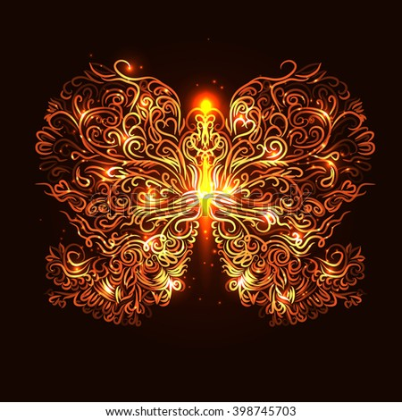 fire butterfly for your design - stock vector