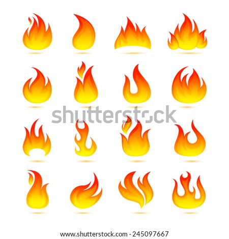 Fire campfire bonfire hot flame curls icons set isolated vector illustration - stock vector