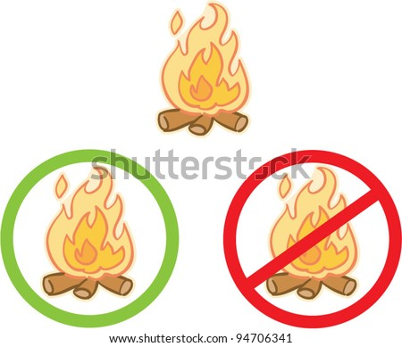 fire caution advisory signs vector illustration - stock vector