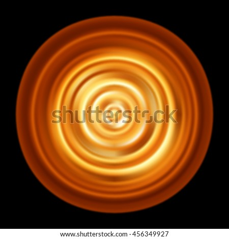Fire circle. Golden magic circle. Fire ripples. Fire disk. Abstract glowing concentric rotating circles. Golden fire disk. Vector graphic pattern with magic fiery round isolated on black background - stock vector
