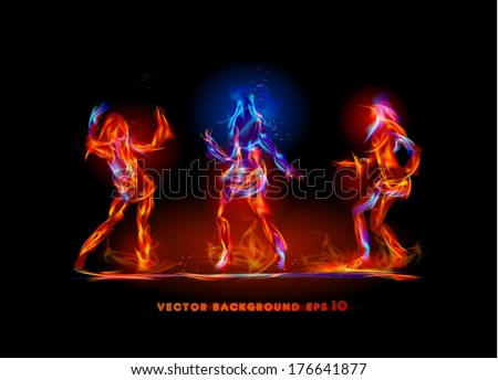 Fire collection Dancing girls - stock vector