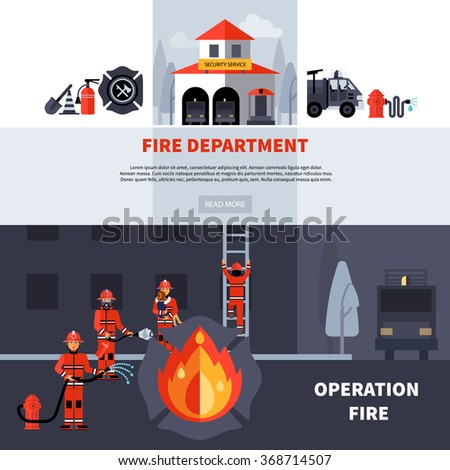 Fire department and extinguishing fire banners with fire station building and fireman brigade with extinguishers flat vector illustration  - stock vector