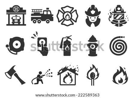Fire Department icons - Illustration - stock vector