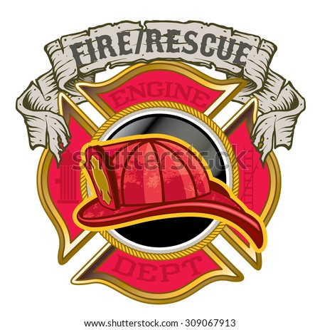 Fire Department maltese cross with helmet and banner - stock vector